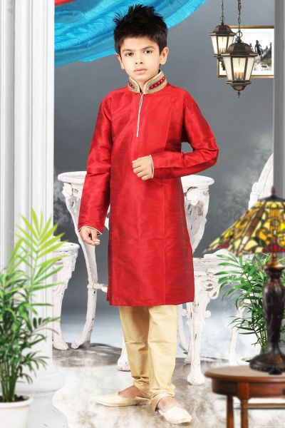 Maroon Art Silk Regular Kurta Pajama (NKK-332)