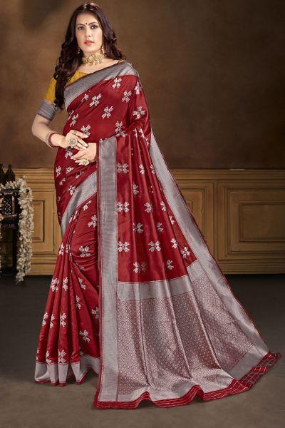 Maroon Banarasi Silk Saree (NWSA-5104)