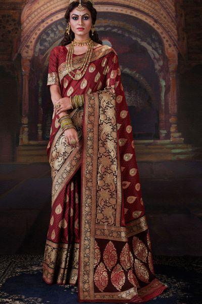 Maroon Banarasi Silk Saree (NWSA-5178)