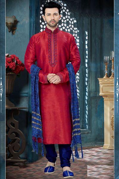 Maroon Banglori Silk Regular Kurta Pajama (NMK-3813)