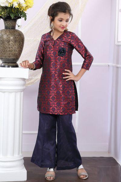 Maroon, Blue Brocade Girls Salwar Suit with Plazzo (NFG-183)
