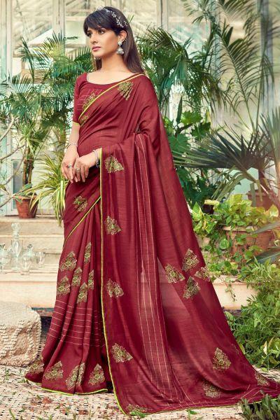 Maroon Chanderi Silk Saree (NWSA-5022)