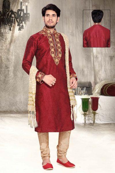Maroon Dupion Silk Designer Kurta Pajama (NMK-2311)