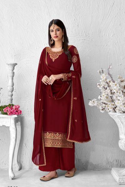 Maroon Georgette Salwar Kameez (NWS-6024)