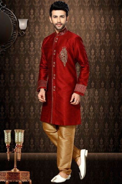 Maroon Giccha Silk Indo Western Kurta (NMK-3188)