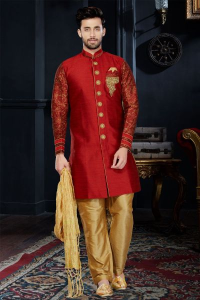 Maroon Giccha Silk Indo Western (NMK-3445)
