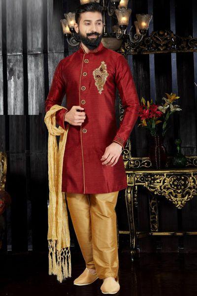 Maroon Giccha Silk Indo Western(NMK-3360)