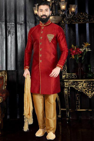 Maroon Giccha Silk Indo Western(NMK-3361)