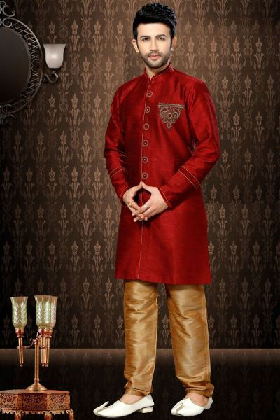 Maroon Giccha Silk Men's Indo Western Kurta (NMK-3190)