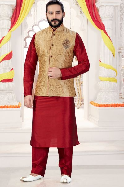 Maroon, Gold Jaquard Jacket Style Kurta (NMK-4270)