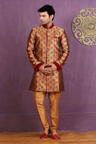 Maroon, Golden Jaquard Silk Brocade Indo Western (NMK-3273)