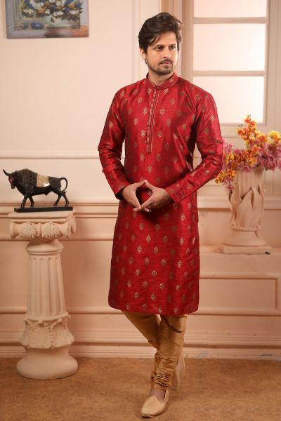 Maroon Jaquard Silk Brocade Kurta Pajama (NMK-4510)
