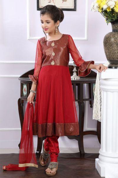 Maroon Net, Brocade Girls Anarkali Dress (NFG-174)