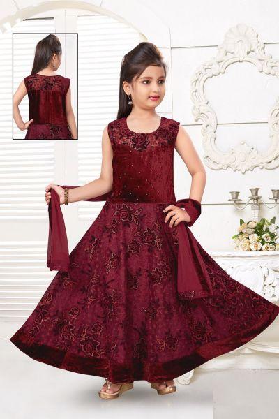 Maroon Net Girls Salwar Kameez (NFG-223)