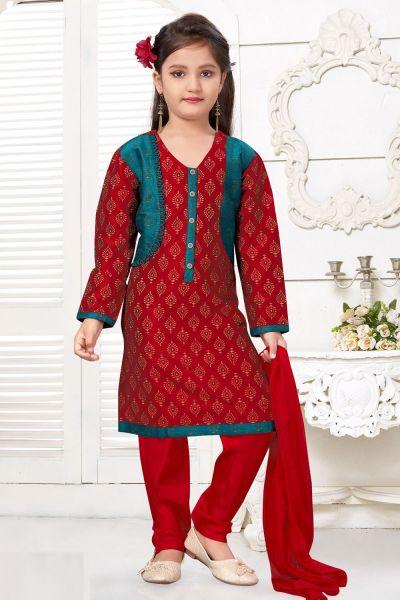 Maroon Printed Art Silk Girls Salwar Kameez (NFG-227)