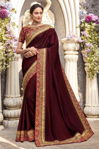 Maroon Silk Saree (NWSA-5076)