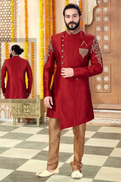 Maroon Silk Sherwani (NMK-4295)