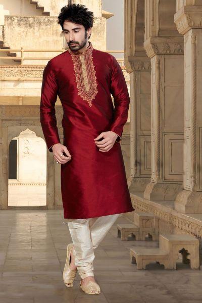 Maroon Tuffeta Indian Kurta Pajama (NMK-2915)