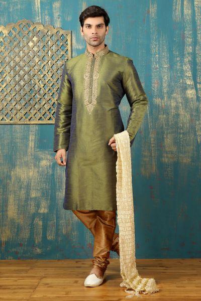 Mehendi Green Dupion Art Silk Kurta Pajama (NMK-3306)
