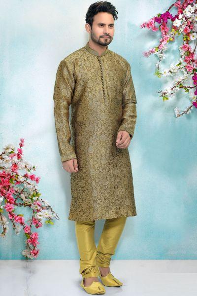 Mehendi Green Jaquard Mens Kurta Pajama (NMK-4912)