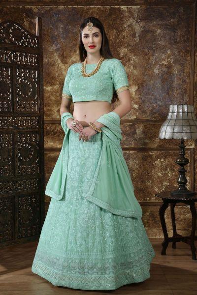 Mint Green Georgette Bollywood Lehenga Choli (NWG-315)