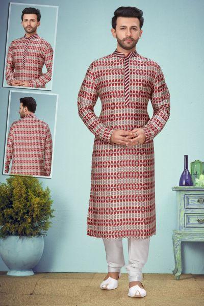 Multicoloured Digital Rayon Kurta Pajama (NMK-5086)