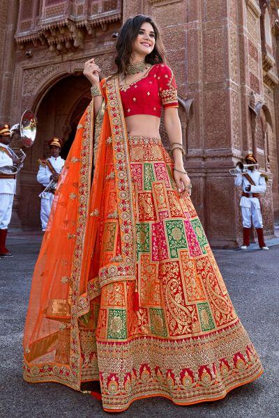 Multicoloured Jaquard Silk Lehenga Choli (NWG-694)