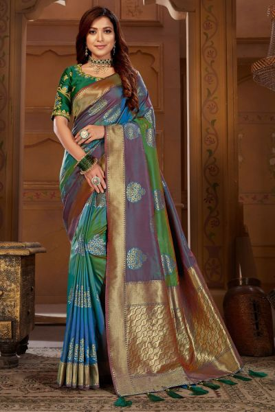 Multicoloured Weaving Jacquard Saree (NWSA-4821)