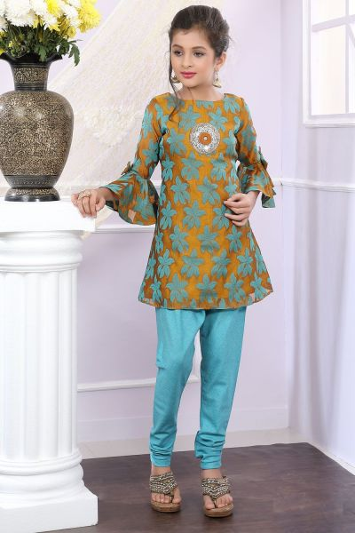 Mustard, Green Brocade Girls Salwar Suit (NFG-182)