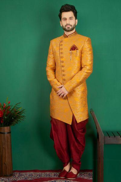 Mustard Jaquard Silk Brocade Indo western (NMK-3863)