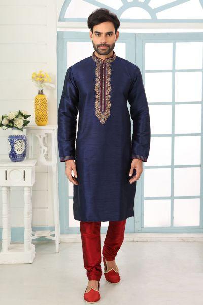 Navy Blue Art Banarasi Silk Kurta Pajama (NMK-5057)
