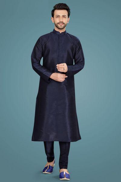 Navy Blue Art Silk Kurta Pajama (NMK-5141)
