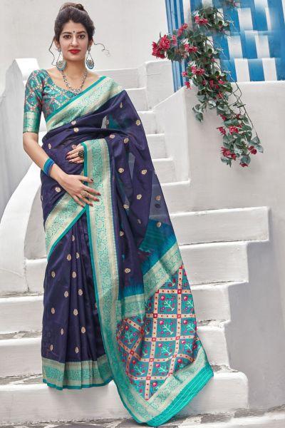 Navy Blue Banarasi Art Silk Saree (NWSA-4921)