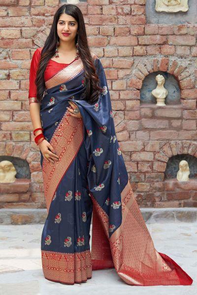 Navy Blue Banarasi Silk Party Saree (NWSA-4377)