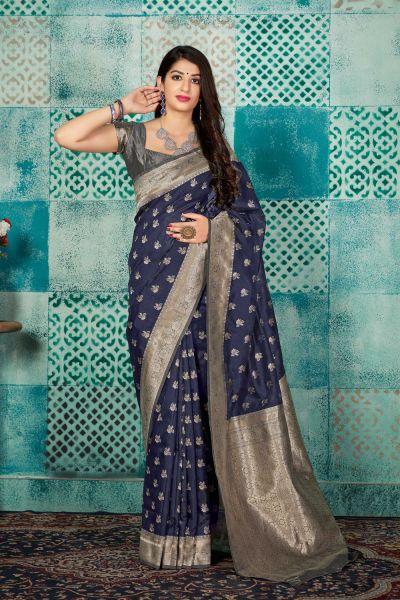 Navy Blue Banarasi Silk Saree (NWSA-4599)