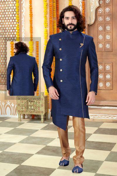 Navy Blue Banglori Silk Mens Indo Western (NMK-4304)