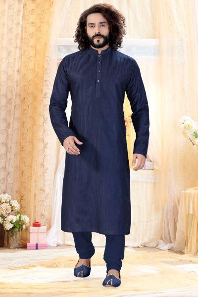 Navy Blue Cotton Silk Kurta Pajama (NMK-4258)