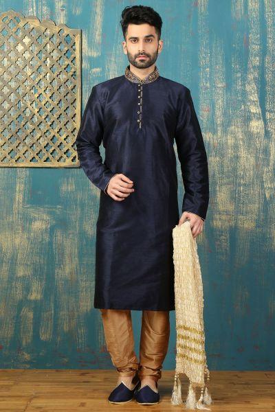 Navy Blue Dupion Art Silk Kurta Pajama for Men (NMK-3290)