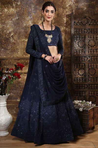 Navy Blue Georgette Bollywood Lehenga Choli (NWG-312)