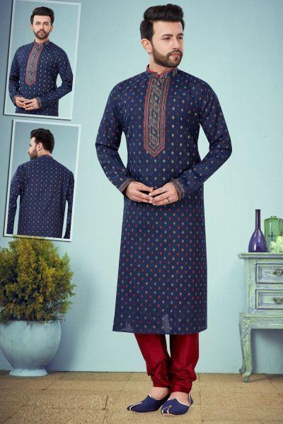 Navy Blue Printed Cotton Silk Kurta Pajama (NMK-4788)