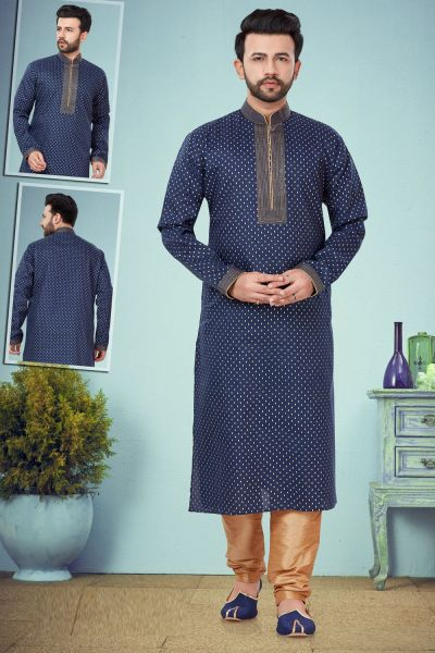 Navy Blue Printed Cotton Silk Mens Kurta Pajama (NMK-4850)
