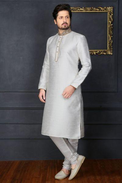 Off White Art Banarasi Silk Designer Kurta Pajama (NMK-3667)