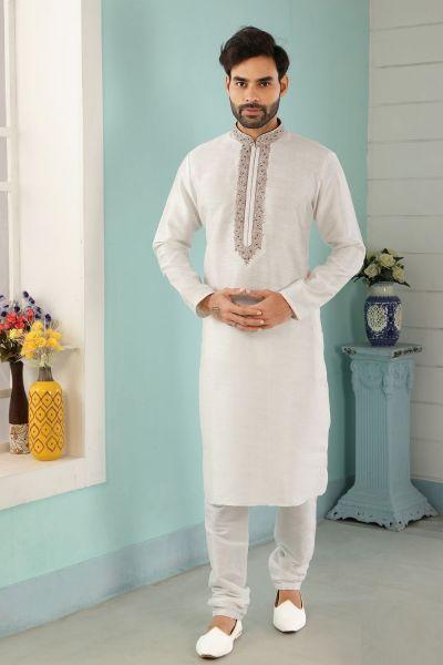 Off White Art Banarasi Silk Indian Kurta Pajama (NMK-5041)