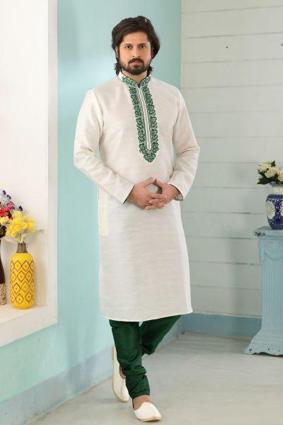 Off White Art Banarasi Silk Kurta for Men (NMK-5038)