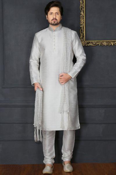 Off White Art Banarasi Silk Kurta Pajama (NMK-3678)