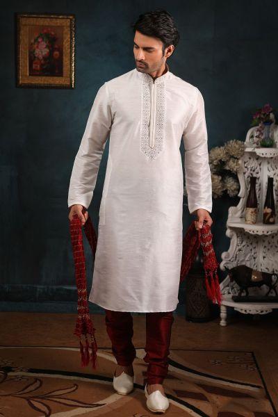 Off White Art Banarasi Silk Kurta Pajama (NMK-4417)