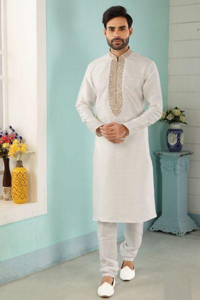 Off White Art Banarasi Silk Kurtas for Men (NMK-5040)
