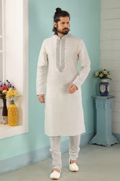 Off White Art Banarasi Silk Men Kurta Pajama (NMK-5036)