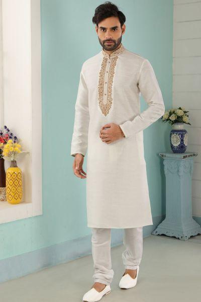 Off White Art Banarasi Silk Mens Kurta Pajama (NMK-5035)