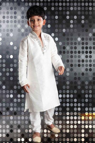 Off White Art Dupion Kids Kurta Pajama (NKK-240)